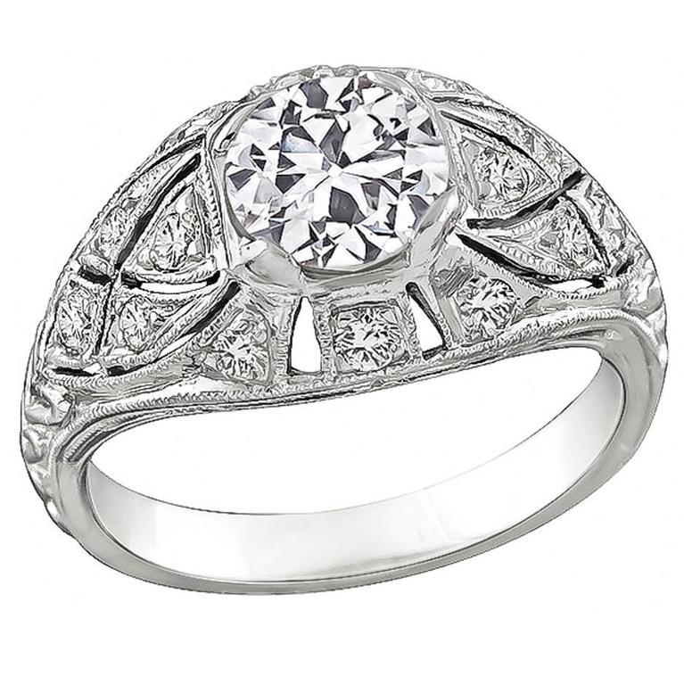 GIA Cert 1.10ct Diamond Gold Engagement Ring 1