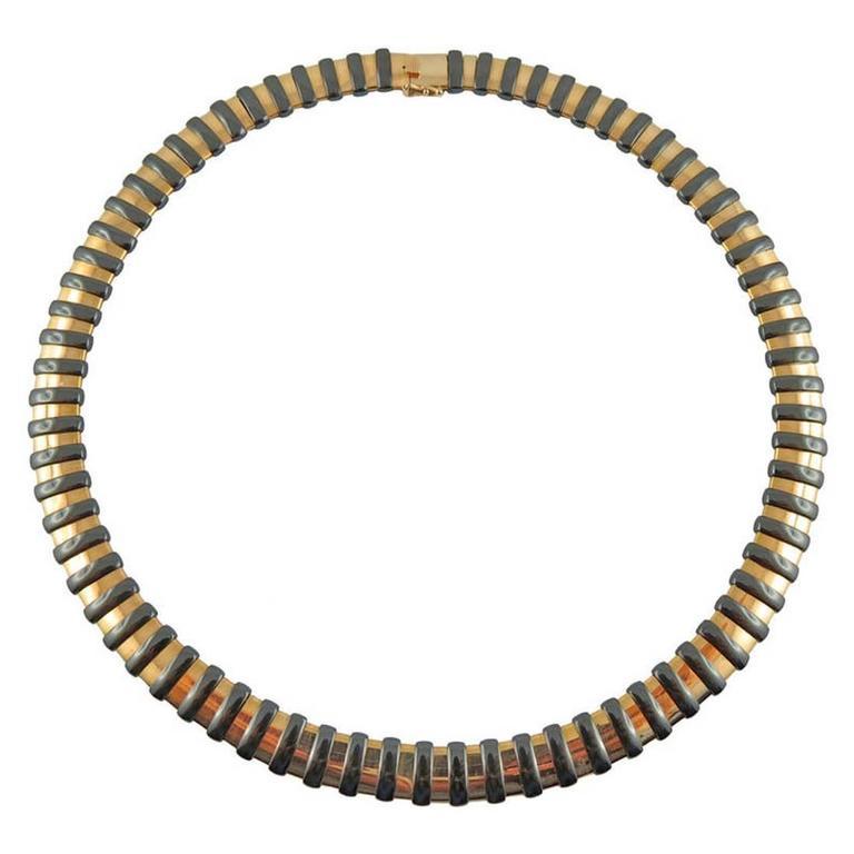Jona High-Tech Black Ceramic 18 Karat Yellow Gold Choker Necklace