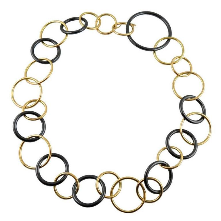 Jona Yellow Gold and High-Tech Black Ceramic Circle Link Necklace 1