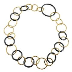 Jona Yellow Gold and High-Tech Black Ceramic Circle Link Necklace