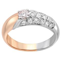 Pink Diamond Gold Platinum Ring