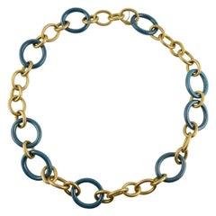 Jona High-Tech Ceramic Brushed 18 Karat Yellow Gold Link Necklace