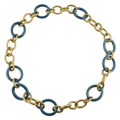 Jona High-Tech Ceramic Brushed Gold Link Necklace