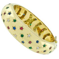 Enticing Multi-Color Stone Gold Bangle Bracelet