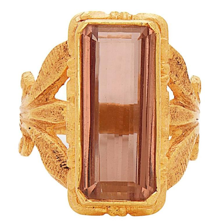Pink Topaz Ring in 22 Karat Yellow Gold