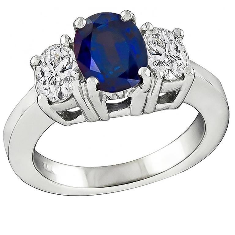 1.41carat Sapphire Diamond Engagement Ring