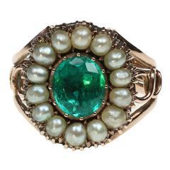 Georgian Oval Cut Emerald Pearl Gold Cluster Ring