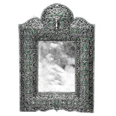 Emerald Diamond Studded Floral Motif Photo Frame