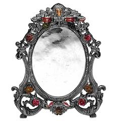 Victorian Looking Oval Shape Photo Frame with Diamonds