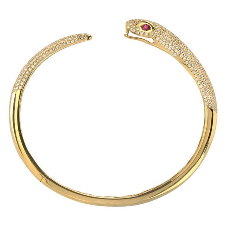 Diamond Ruby Gold Snake Cuff
