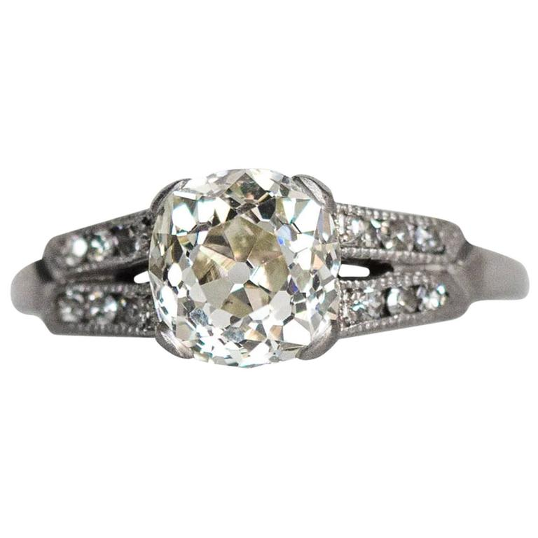 1920s Art Deco Platinum 1 46 Carat Cushion Cut Diamond With Side Stones