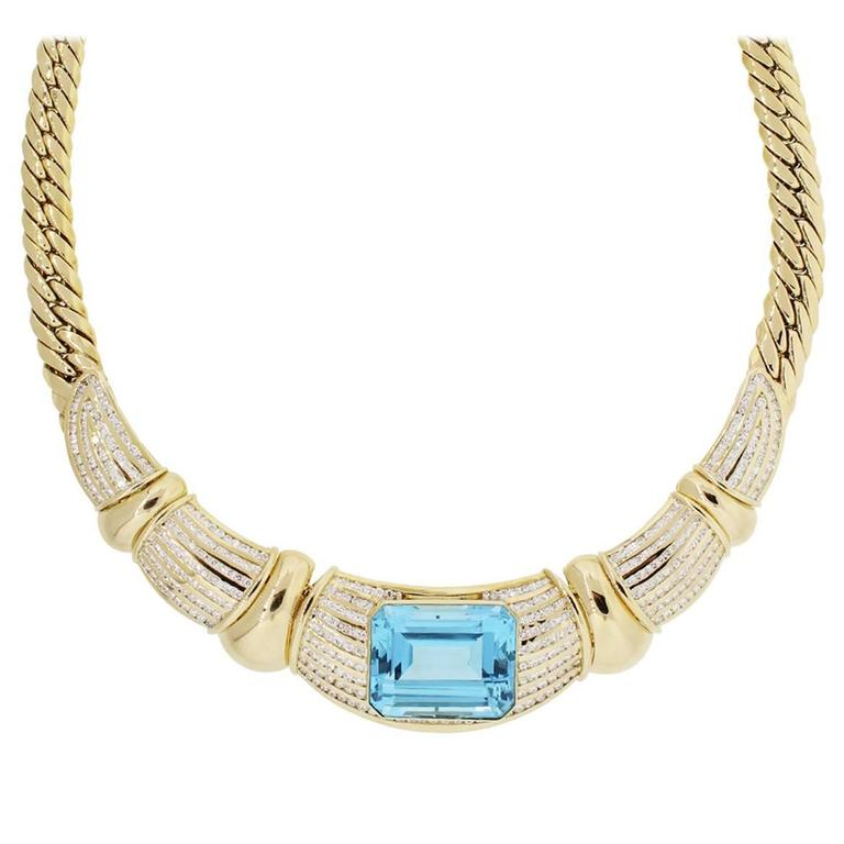 18k Yellow Gold Diamond Blue Topaz Necklace For Sale