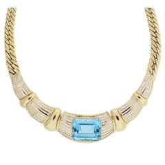 18k Yellow Gold Diamond Blue Topaz Necklace