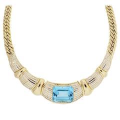 18k Yellow Gold Diamond Blue Topaz Necklace