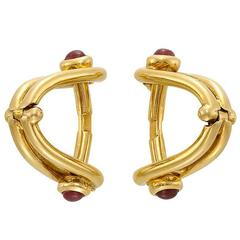 1960's Gold and Ruby Stirrup Cuff Links