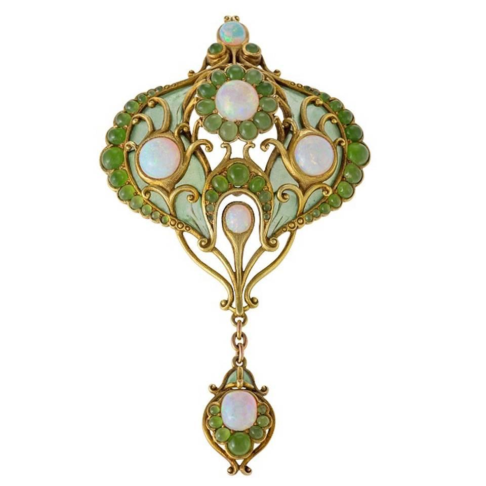 Marcus & Co. Art Nouveau White Opal, Chrysoprase, Enamel and Gold Pendant Brooch