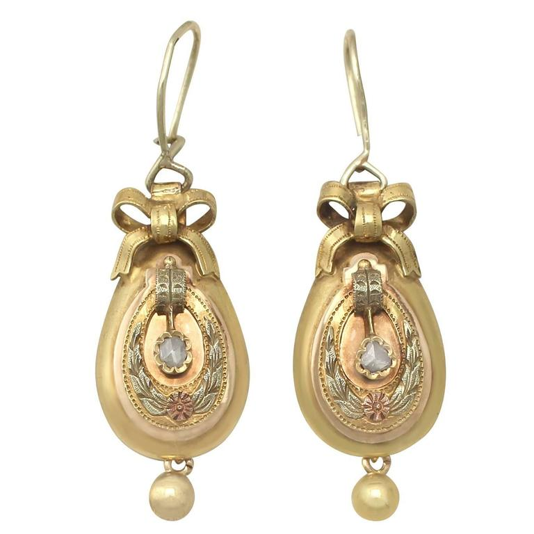 0 12 Ct Diamond And 14k Yellow Gold Drop Earrings Antique Austrian Circa 1880 For