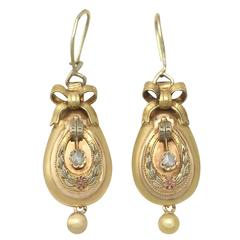 0.12 Ct Diamond and 14k Yellow Gold Drop Earrings - Antique Austrian Circa 1880