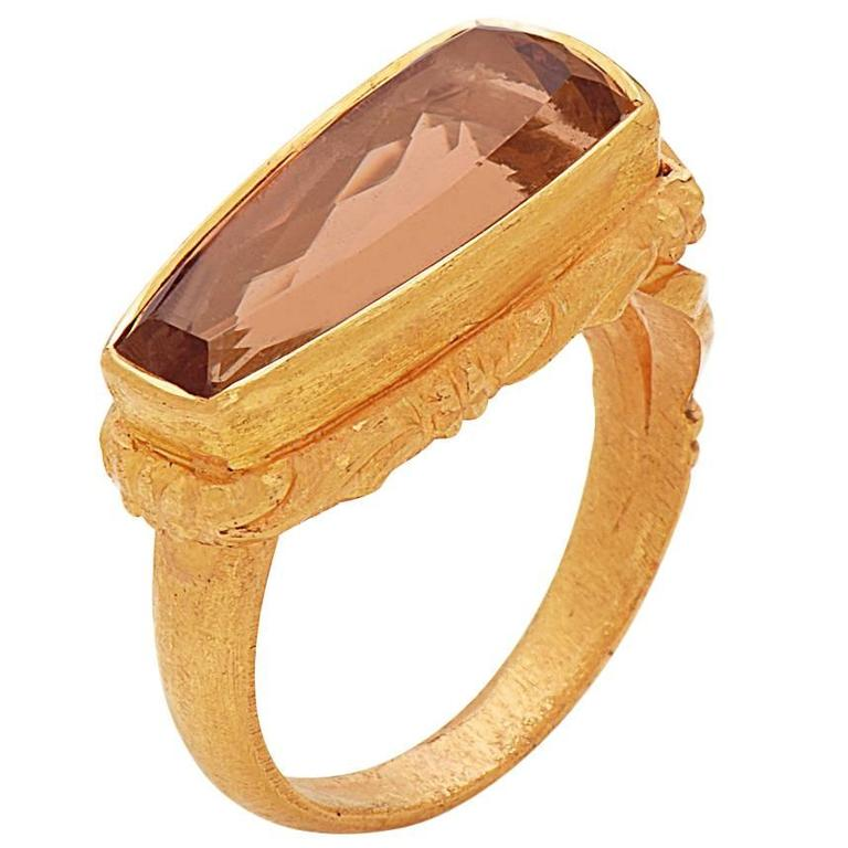 Peach Precious Topaz Ring in Gold For Sale