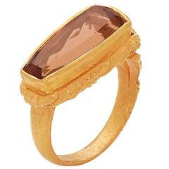 Peach Precious Topaz Ring in Gold