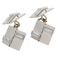 Van Cleef & Arpels Paris 1930s Art Deco Diamond and Platinum Cuff Links