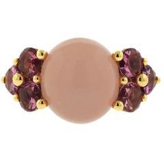 Pomellato Luna 18k Gold Rose Quartz Pink Tourmaline Ring