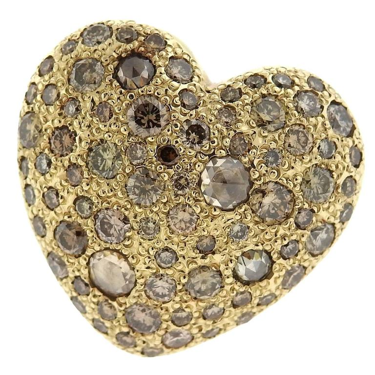 Pomellato Sabbia Gold Fancy Diamond Heart Ring