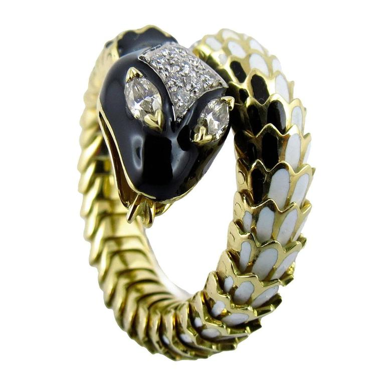 Jona Enamel White Diamond 18 Karat Yellow Gold Flexible Coil Snake Ring For Sale