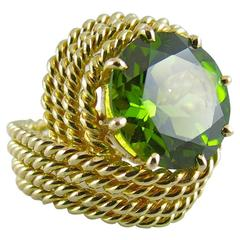 Jona Natural Peridot Yellow Gold Nounou Ring