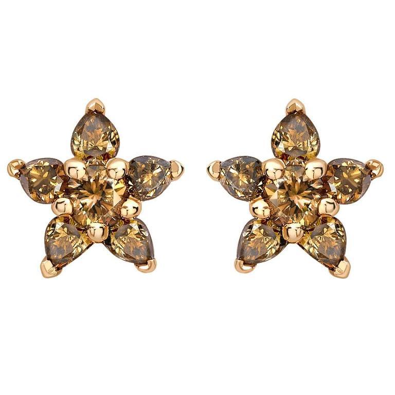 Ana de Costa Cognac Diamond Gold Flower Stud Earrings 1