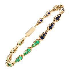 Sabine Getty Harlequin Emerald Sapphire Gold Tennis Bracelet