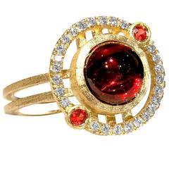 Red Garnet Orange Sapphire Diamond Reflective Gold Handmade Nova Ring