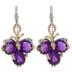 Luise Amethyst Diamond Gold  Clover Earrings