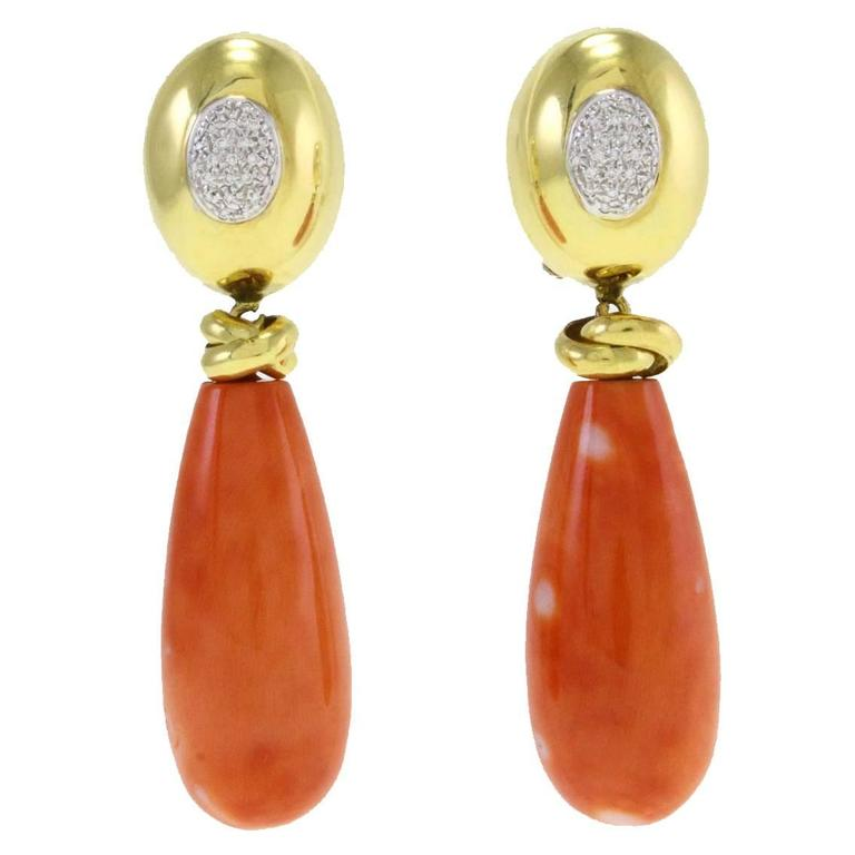 Teardrop Coral Diamond Gold Earrings For Sale