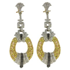 Black and White Diamond, Sapphire, White and Yellow Gold Chandelier Earrings