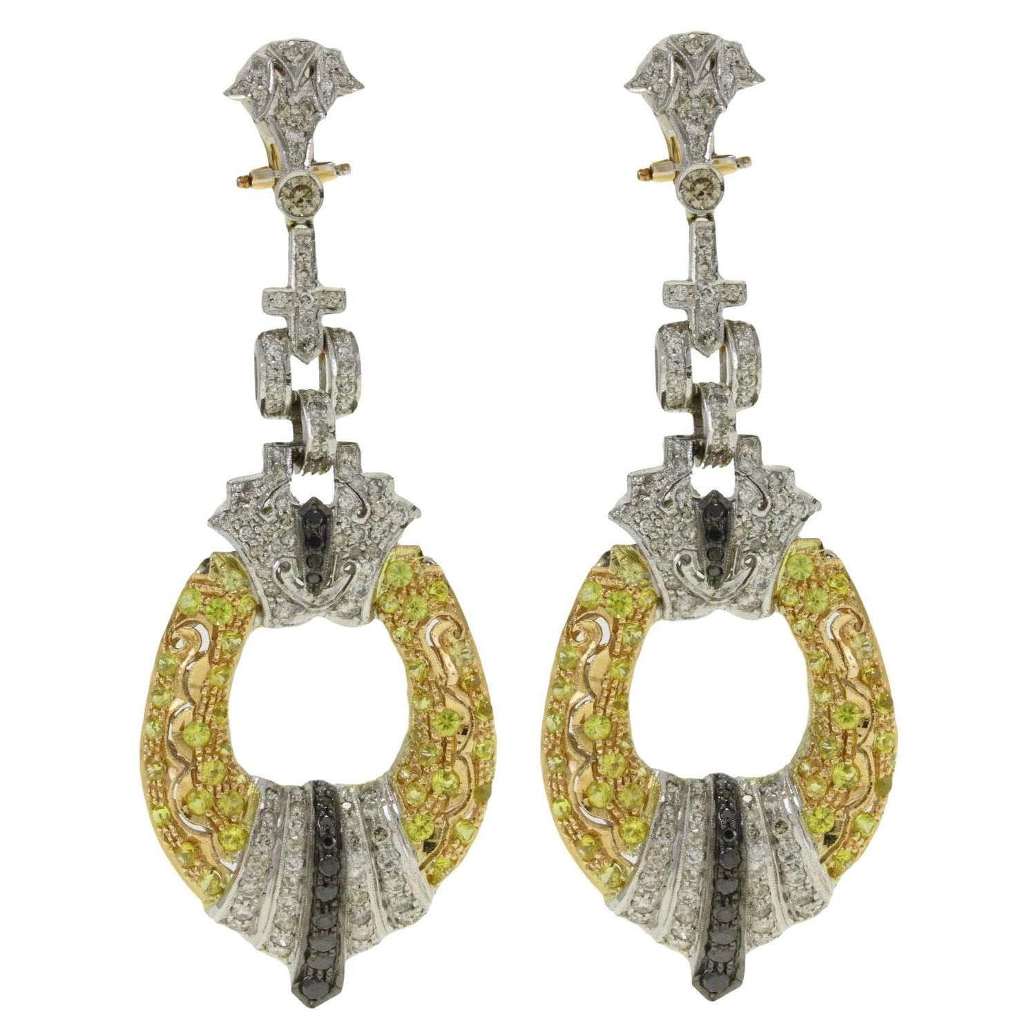 Black And White Diamond Shire Yellow Gold Chandelier Earrings For At 1stdibs