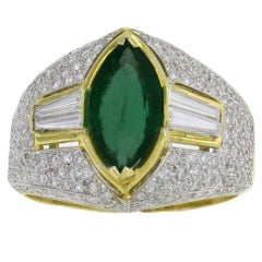 ct 2,68 Emerald and ct 2,62 Diamond Gold Ring
