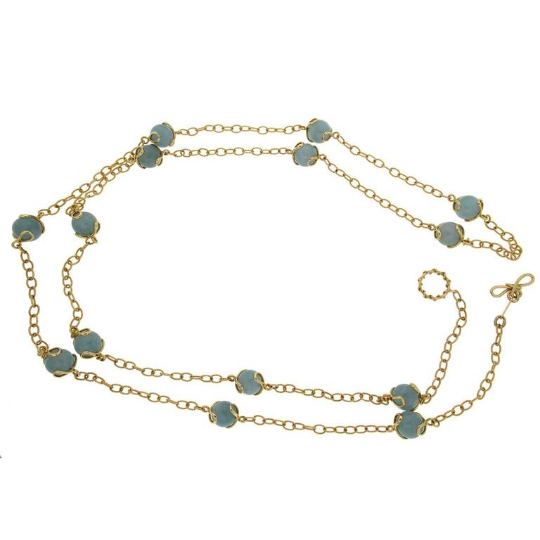 Valentin Magro Carina Aquamarine Ball Gold Necklace