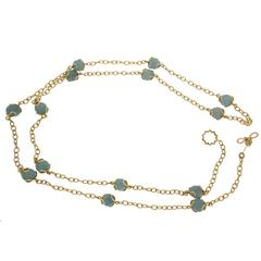 Carina Aquamarine Ball Gold Necklace