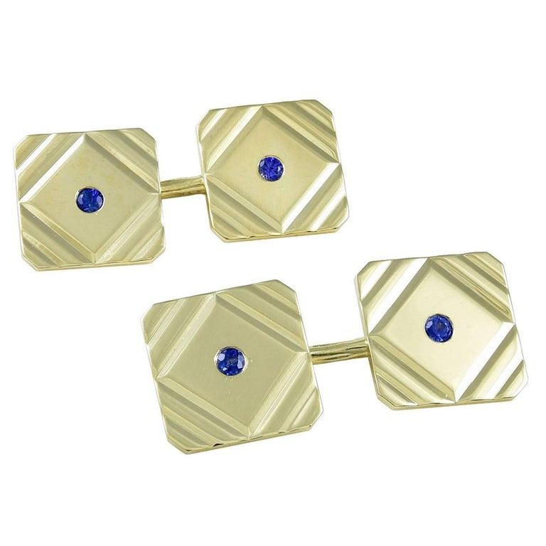 TIFFANY & CO.  Gold and Sapphire Cufflinks For Sale