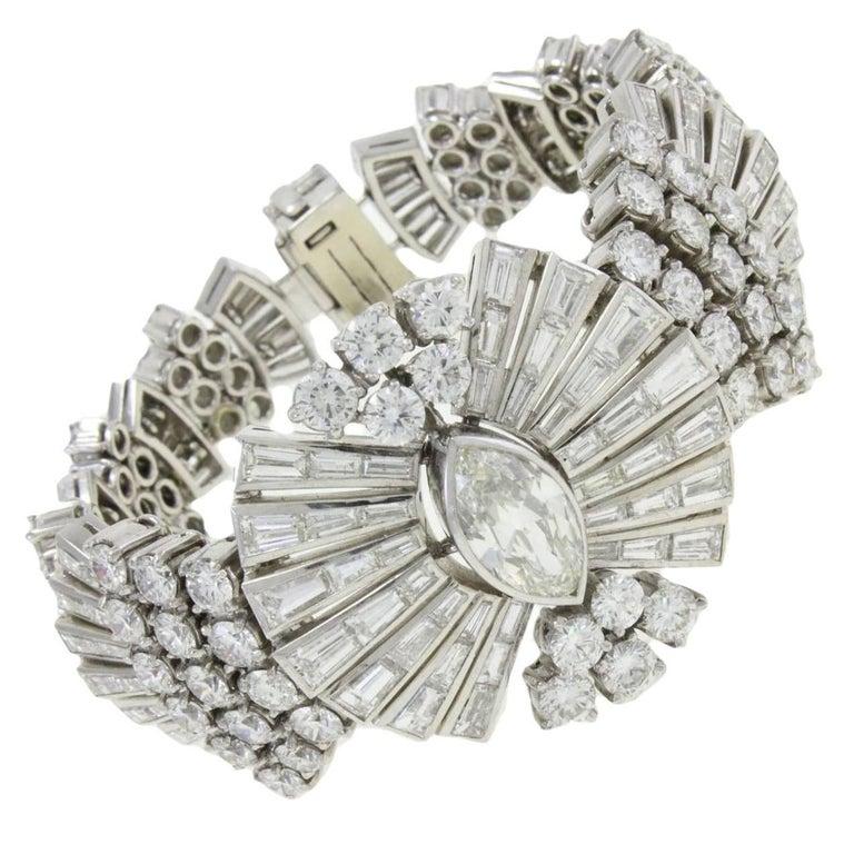 Retro Diamond Platinum Bracelet For Sale