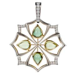 JFA Tourmaline, Peridot and Diamond 18 Karat Gold Pendant