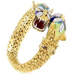 Enameled Multi-Tone Gold and Diamond Dragon Heads Bangle Bracelet
