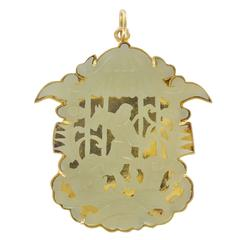 Spectacular 1920s Gold and Jade Pendant