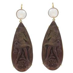 Unique Lava Stone Cameo and Pearl Dangle Earrings