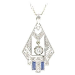 1925s French Art Deco Diamond Pendant