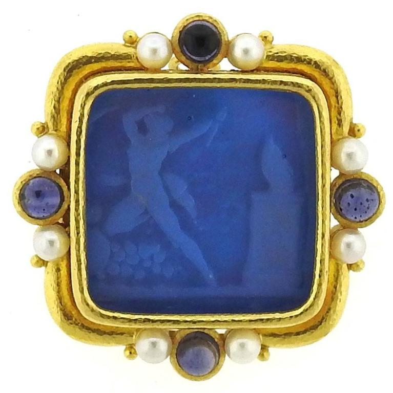 Elizabeth Locke Gold Pearl Sapphire Venetian Glass Intaglio Pendant Brooch For Sale