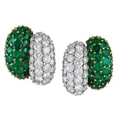 1980s Emerald Diamond Earrings