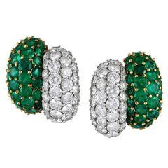 1980's Emerald  Diamond Earrings