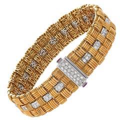 Roberto Coin Appassionata Diamond Ruby Gold Bracelet